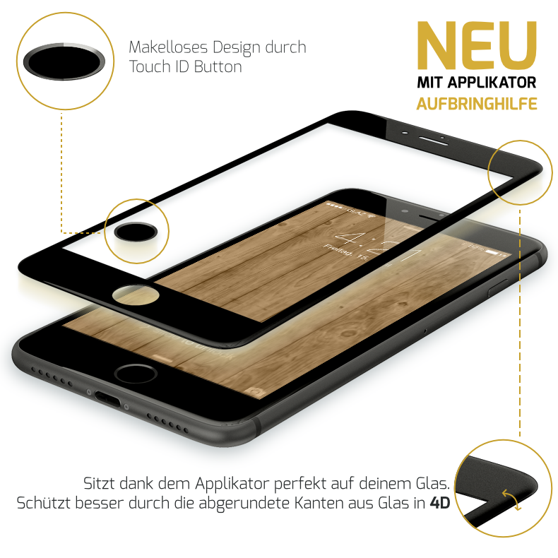 GLAZ Displayschutz 2.0 4D iPhone 6 schwarz