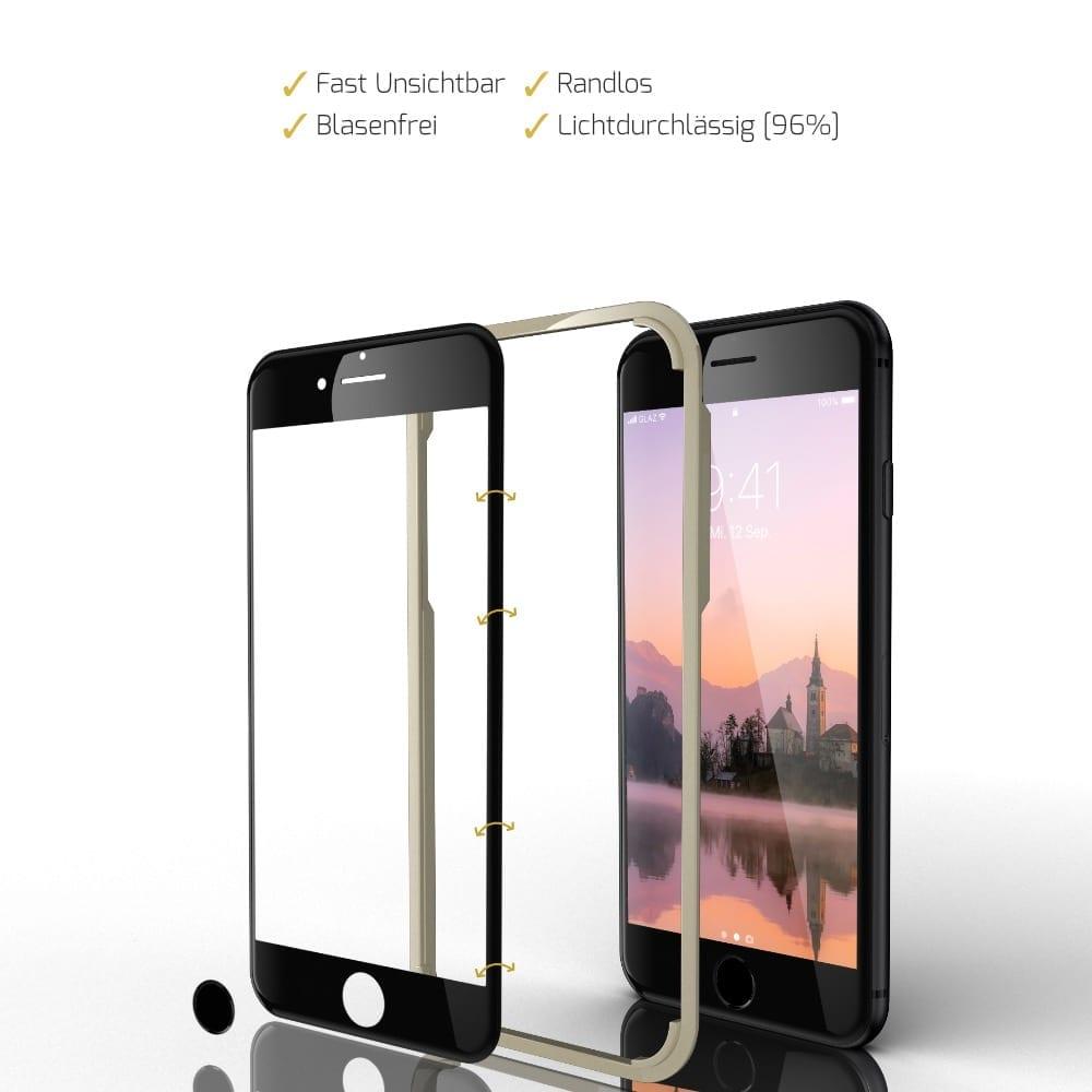 iPhone SE 2020 Panzerfolie Hybrid schwarz auch für iPhone 6-7-8 geeignet